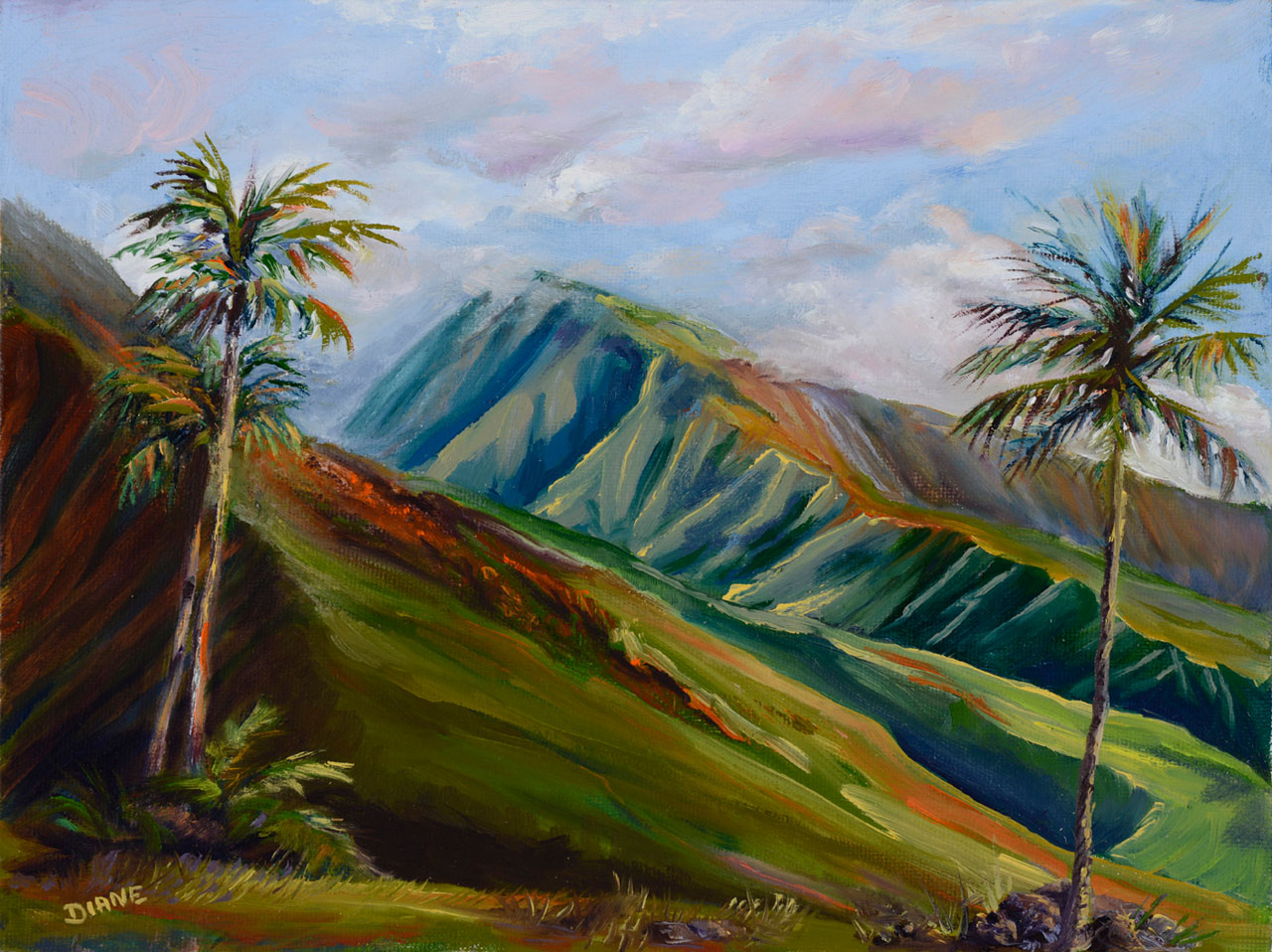 Evening Coming Lahaina 9 x 12 Print on watercolor paper Diane Snoey Appler