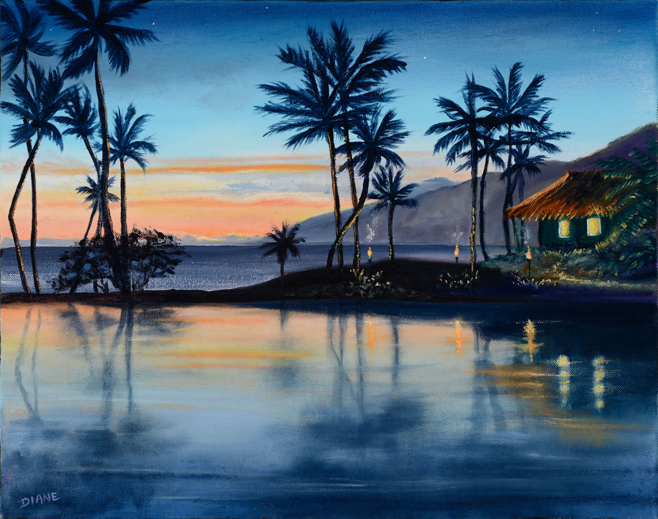 Lagoon at Sunset Wailea 8 x 10 print on watercolor paper Diane Snoey Appler