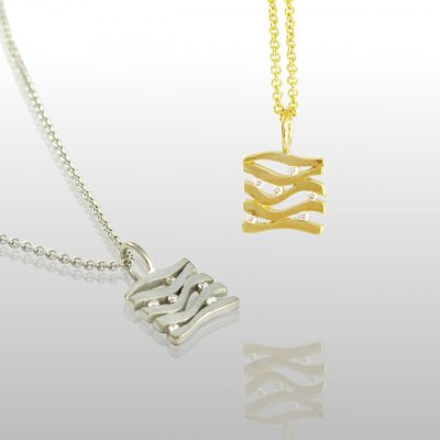 Two square pendants, yellow and white gold. With lines and diamonds