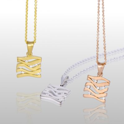 three square pendants, white, yellow and rose gold. With lines and diamonds