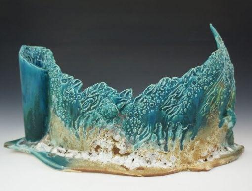 Waterfall Sculpture with Sea Turtles by Lee Oululani Plevney. Ocean-inspired ceramic art handmade on Maui, Hawaii.