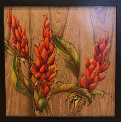 A wood burned and oil painted wood panel of three ginger flowers