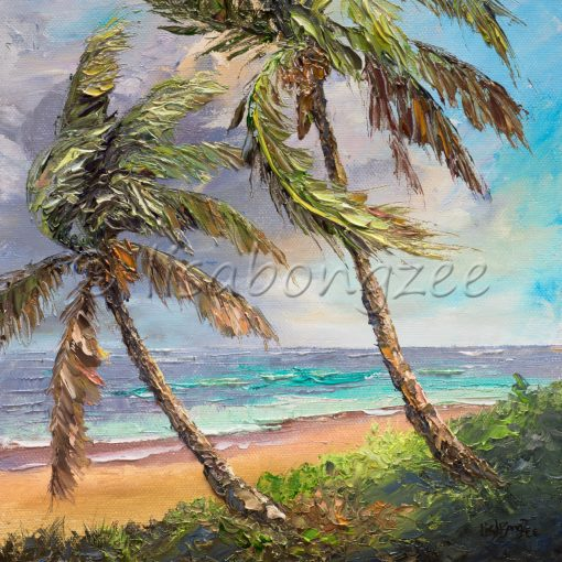 square oil painting of two large palm trees swaying towards the left on the shore of a beach