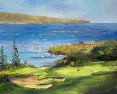 oil painting of a golf course looking over the ocean