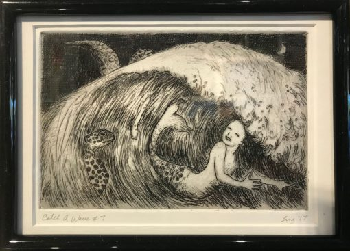 an original print of a mermaid body surfing in a wave