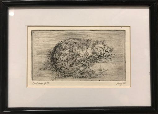 an original print of a cat curled up and napping