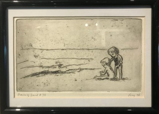 an original print of two kids playing at the edge of the ocean