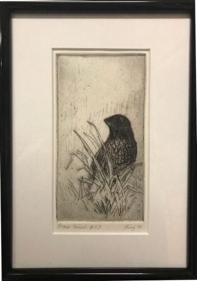 an original print of a grass finch in a bunch of grass