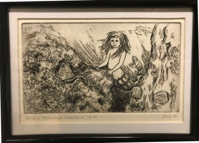 an original print of an underwater scene with a mermaid next to an octopus