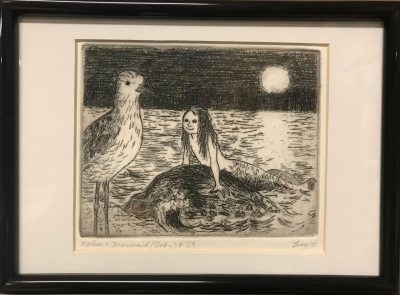 an original print of a Kolea bird on shore with a mermaid facing the bird while in the ocean at night time
