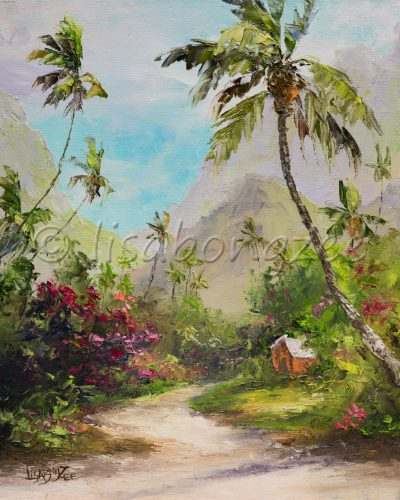 an original oil painting of a dirt road, path, lined with palm trees and other local plants with a house hidden. At the edge of a mountain