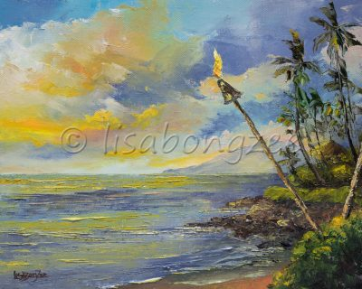an original oil painting of Napili bay beach at sunset with a torch lighted along the beach. Blue sunset sky with yellow clouds reflecting off a calm ocean.