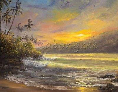 an original oil paining of a sunset view off a beach. Rainbow colored sky that is reflecting off the ocean of a palm tree lined beach. Two waves are rolling on shore.