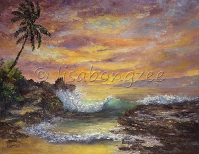 an original oil painting of a perfect sunset view from a rocky beach as a wave crashes on shore. The sky is purple, magenta, orange, yellow and a palm tree is at the left edge