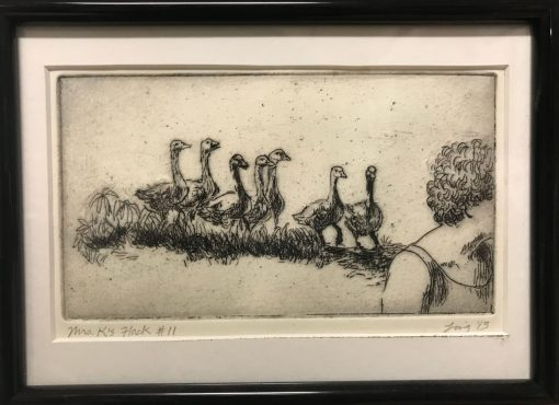 an original print of a woman walking towards the right with a flock of geese following her