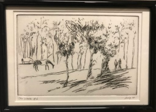 an original print of a pasture looking scene with large trees, horses, and two people walking