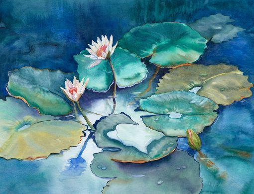 Original watercolor painting of lily pads and flowers by artist Christine Waara