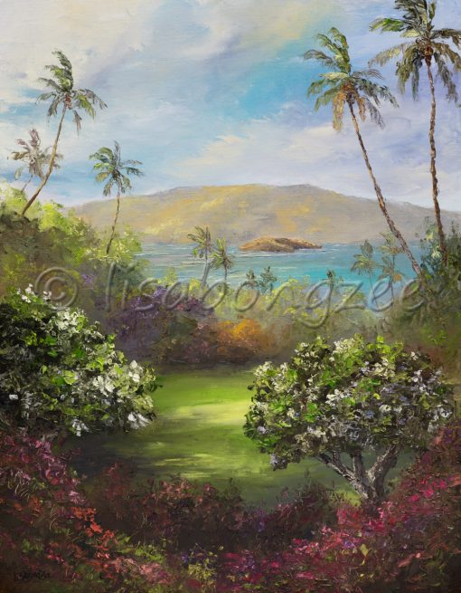 a view of the ocean and an Island in the distance from a shady peaceful spot on Maui. Surrounded by plants and palm trees