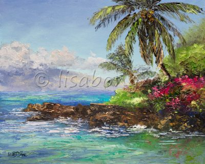 an oil painting of a rock shore meeting the ocean, palm trees at the waters edge, and an island in the distance