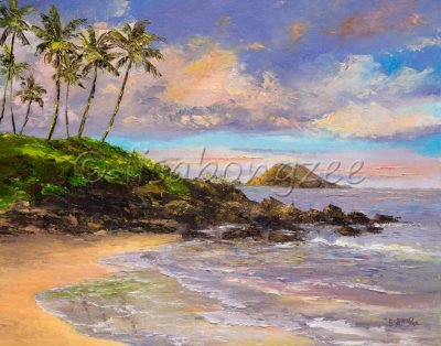 Oil painting of a vibrant sunrise (sunset) off the shores of a beach. Palm trees and rocky shores. Purple, blue, orange cottoncandy skies.