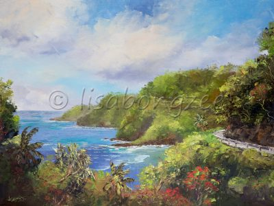 An oil painting of the road to Hana, Maui. Road is visible at the edge of a lush green mountain, and the ocean to the right.