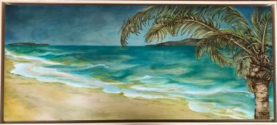 an original oil and wood burned painting of a sea foam colored ocean. A coconut tree in the front and two islands in the distance.