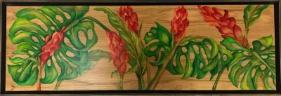 an original oil painting on a wood panel. Horizontal piece. Vibrant ginger flowers surrounded by green monstera leaves
