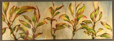 an original oil and woodburned painting. Ti leaf plants made up of the colors, red, pink, yellow, and green. Against a light blue background
