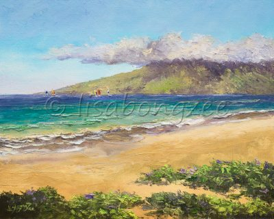 an original oil painting of a calm, vacant beach with green mountains in the distance past the ocean and 5 windsurfers out in the water