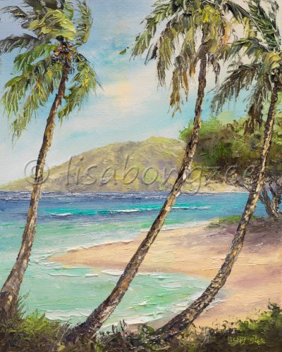 an original oil painting of three palm trees in front of a calm beach with deep, royal, and teal blue waters