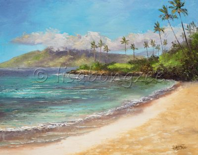 an original oil painting of a seascape. Calm waters with deep blues and teals. An empty beach and palm trees in line the shore. The island of Molokai in the distance.