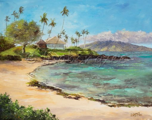An original oil painting of a crescent moon shaped beach. Smooth tan sand, and a rocky shore. Palm trees in the distance as well as the island of Lana'i
