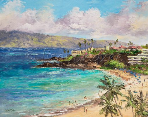 an original oil painting from a high perspective. Black Rock in the distance, with a hotel visible and an island in the distance. Three palm trees in the right corner, with a busy beach visible