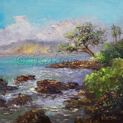 an original oil painting of shallow waters with lava rocks. An island in the distance and palm trees and other lush green plans on shore.