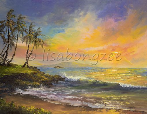 a sunset off the beach in Wailea, Maui. The sky is purple, yellow, orange, pink, and teal. A wave rolls onto shore