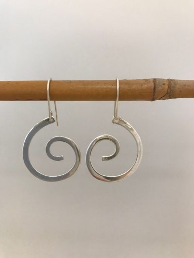 single sterling silver swirl on sterling silver ear wires