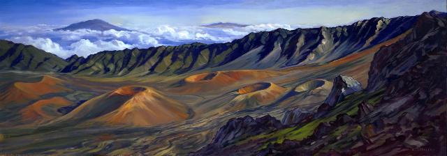 Haleakala Rim by Janet Spreiter Oil Paitning