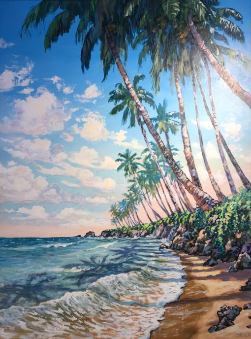 an original acrylic painting. A row of palm trees line an ocean with a small shore. The palm trees cast their shadows on the ocean. Blue sky with white clouds. The sky is light pink on the horizon.