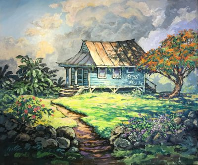 an original acrylic painting. A path is shown leading towards a blue hut-like house. A green, lush yard, with a single Poinciana tree filled with orange flowers.