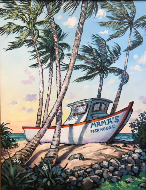 an original acrylic painting. The boat showing Mama's Fish House entrance surrounded by palm trees.