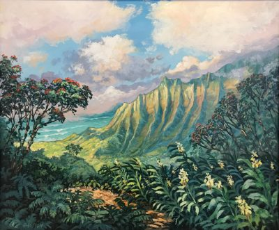 an original acrylic painting. Kalalau on the Island of Kauai is shown from a distance. Plants surround the perspective which the painting is made from. A tree with red flowers is on the far right side. The Kalalau mountain seems to cast a rainbow off its surface. Blue sky with large clouds.