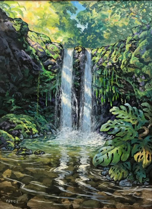 an original acrylic painting. Two waterfalls are shown streaming into the pond off of the same ledge. Various plans including monstera line the pond and the rocks which the waterfall streams off of.