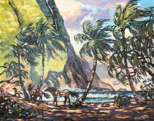 an original oil painting. Two horses stand next to palm trees on a beach. A lush mountain is shown in the distance with a waterfall rolling off the side.