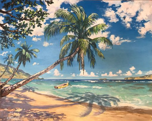 an original acrylic painting. Slanted palm trees cast shadows on an empty beach. A single yellow boat floats in the ocean close to shore. The sky is blue with scattered white clouds.