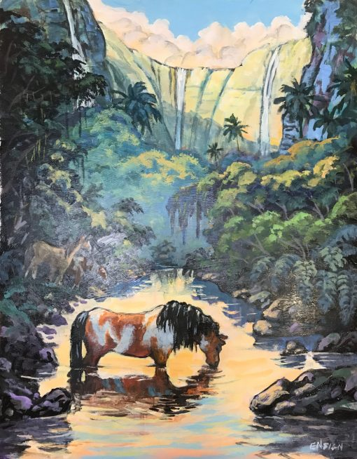 an original acrylic painting. A brown and white horse drinks from a stream made by a waterfall in the distance. The stream reflects gold off the sunset sky.