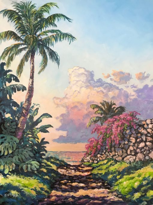 An original oil painting. A single palm tree casts a shadow on a path headed towards a beach at sunset. Monstera plans surround the base of the palm tree. There is a pink colored bush at the other end of the path. Purple, pink, and yellow clouds float above the calm ocean