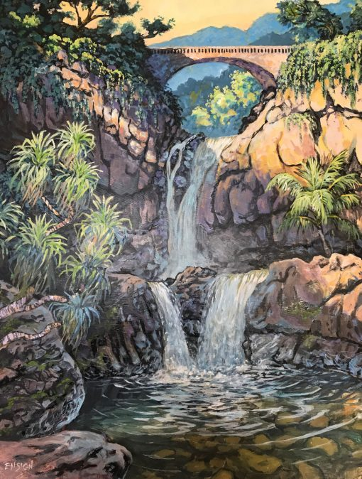 "an original oil painting of Oheo Pools, also known as ""Seven Sacred Pools"" in Hana. Three waterfalls are shown rolling off a cliff made of tan colored rocks. A bridge is at the top and plans are scattered throughout the landscape"