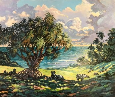 an original acrylic painting. A large Lauhala tree casts a shadow on a field which three cows lay beneath. The ocean is visible in the distance, as well as other trees and plants