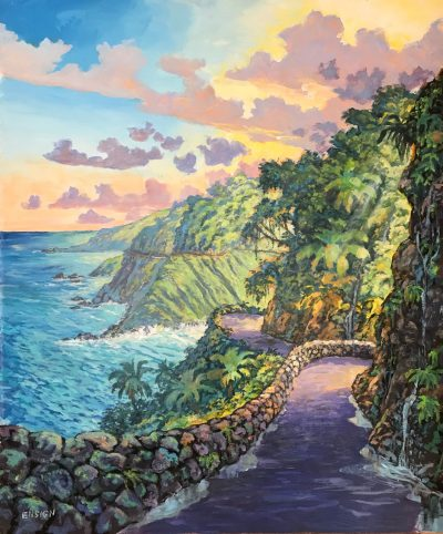 an original acrylic painting. A rock wall lines a windy road. The left side of the painting shows the ocean while the right shows the lush mountains which the road to Hana lines. The clouds are purple and pink and a blue and yellow sky. The Road is purple