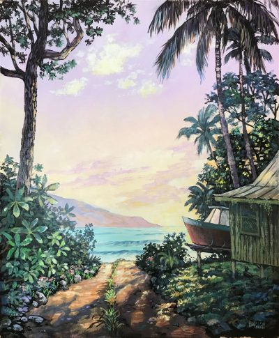 an original acrylic painting. A house near the ocean with a red boat next to it. The ocean is visible in the distance with a path heading there. Trees and plans surround the house. An island is visible beyond the ocean.